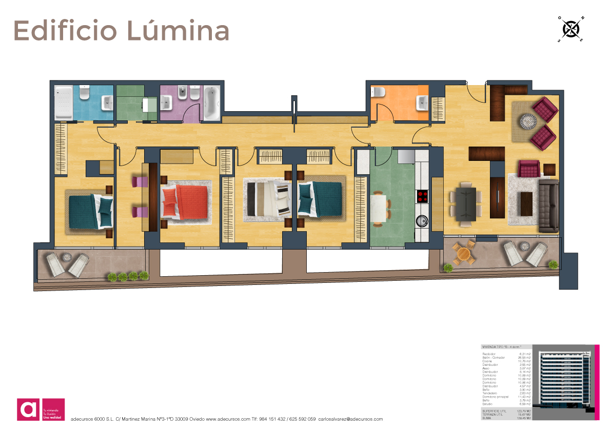 Viviendas de 4 dormitorios planos comerciales adecursos for Planos para viviendas