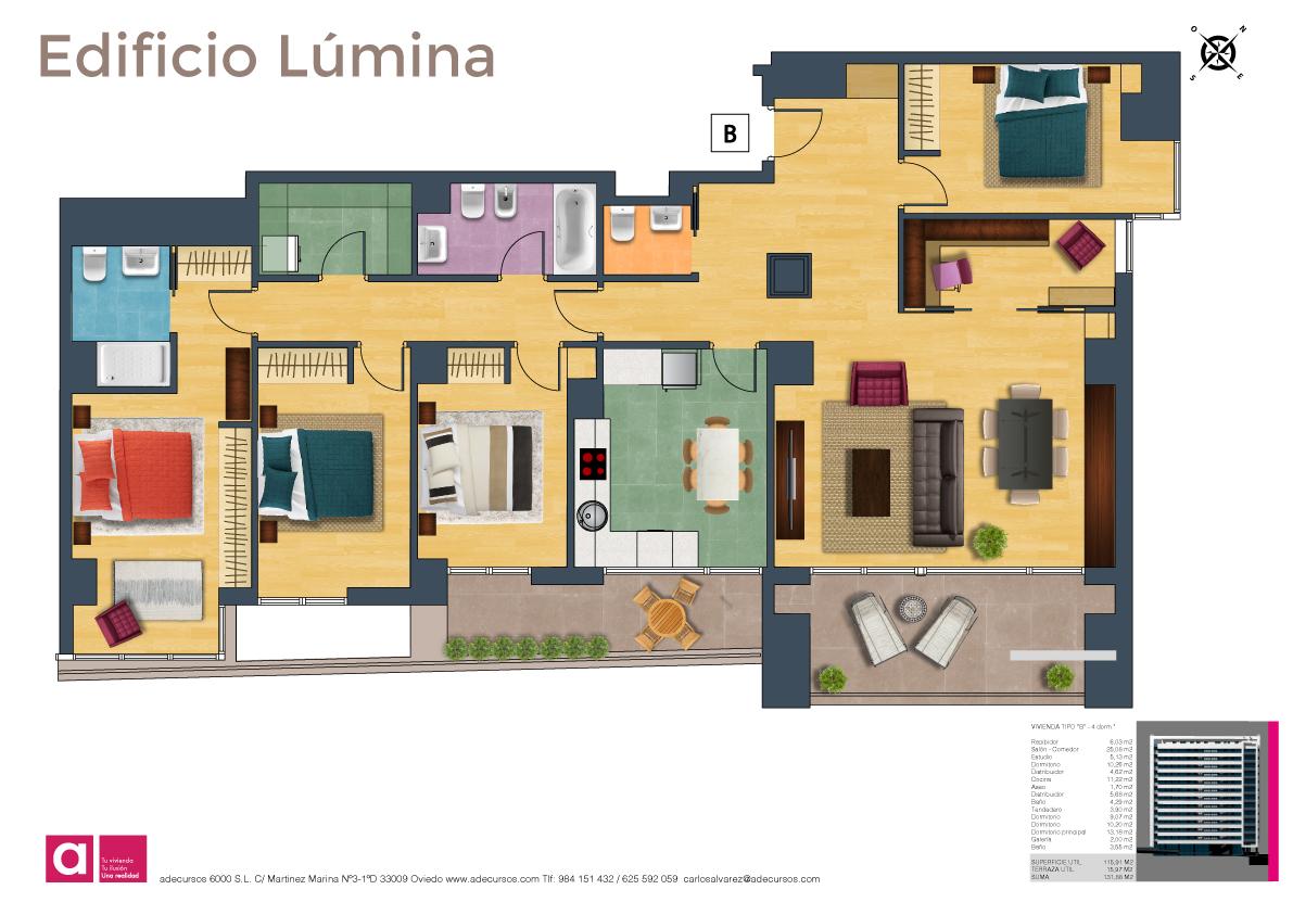 Edificio l mina viviendas de 4 dormitorios planos for Planos de habitaciones