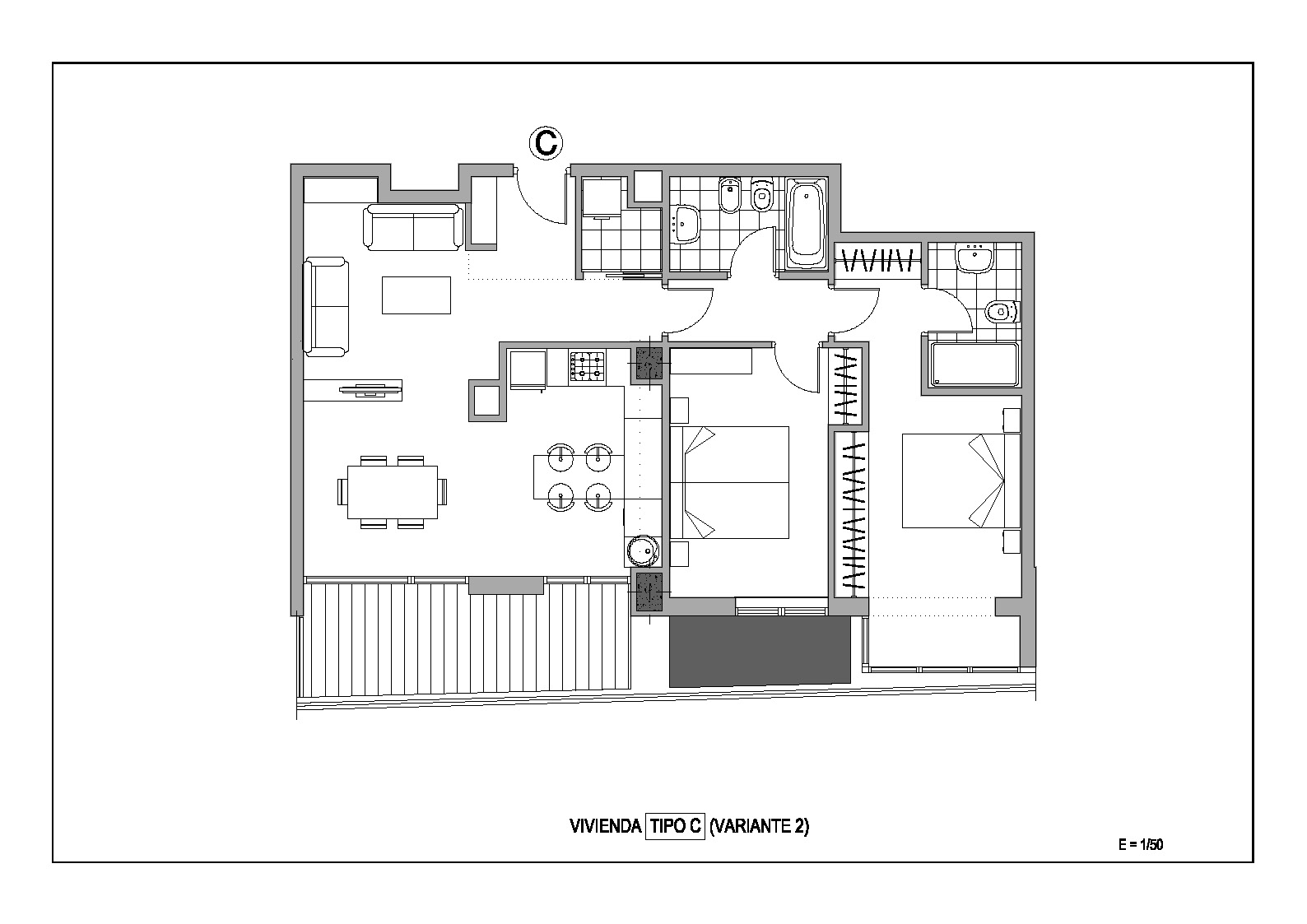 Estudio distribuci n sal n cocina 2 dormitorios adecursos - Distribucion salon comedor rectangular ...