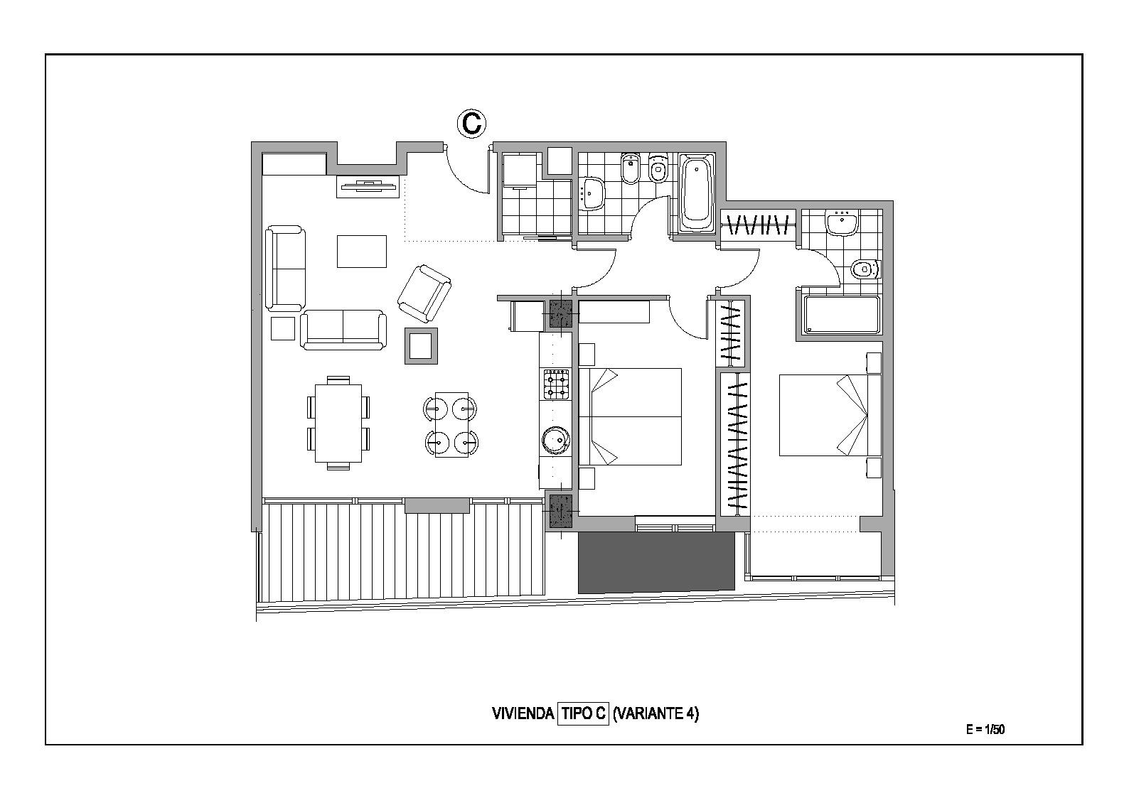 Estudio distribuci n sal n cocina 2 dormitorios adecursos - Distribucion salon comedor pequeno ...