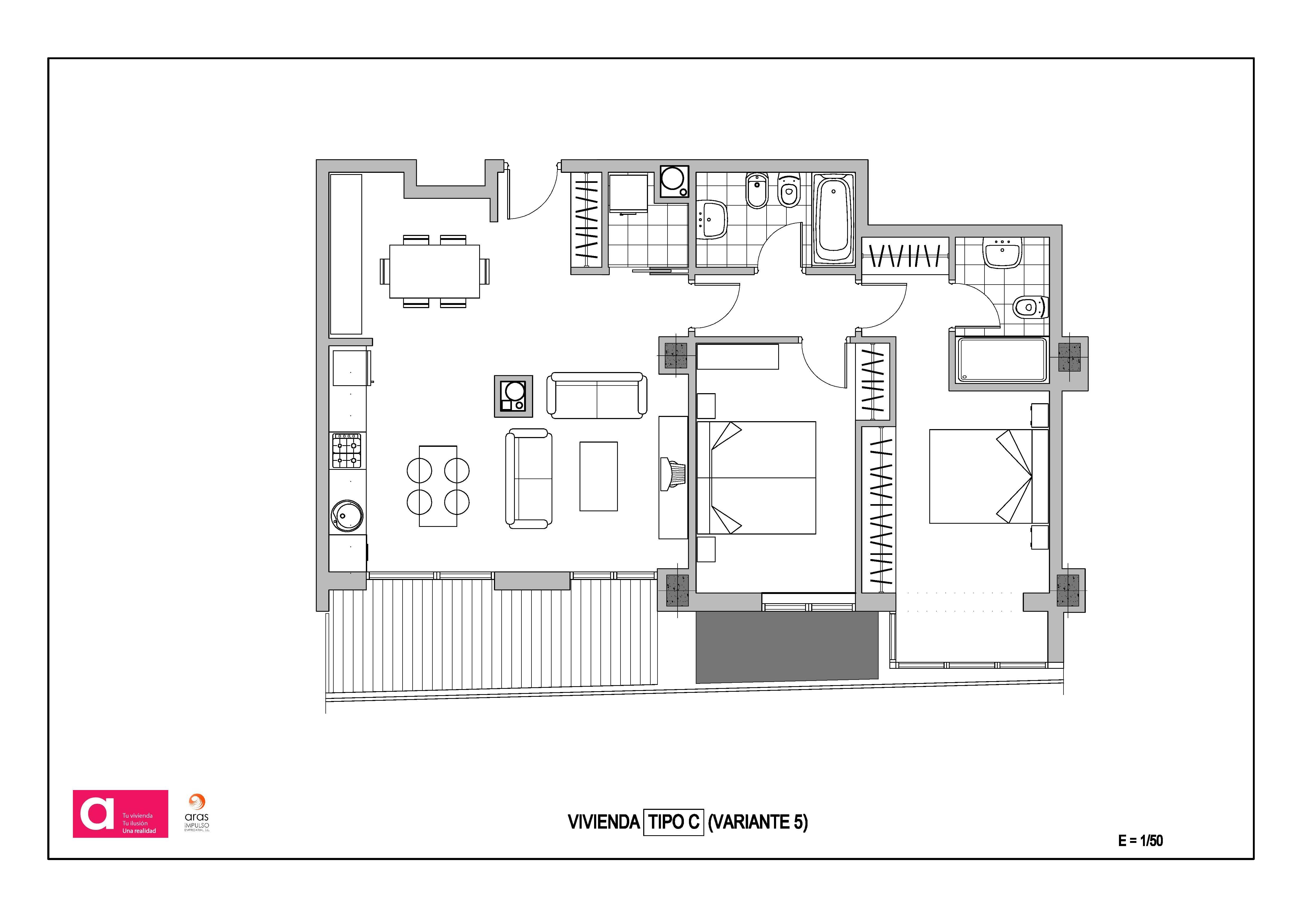 Version optimizada sal n cocina 2 dormitorios adecursos for Distribucion armarios cocina